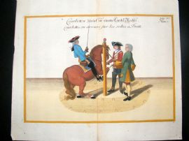 Cavendish Equestrian Dressage 1700 Antique Hand Colored Horse Print 68